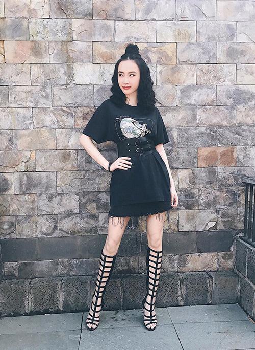 Angela Phương Trinh trông trẻ trung và sành điệu hơn với bộ đồ đen quyền lực