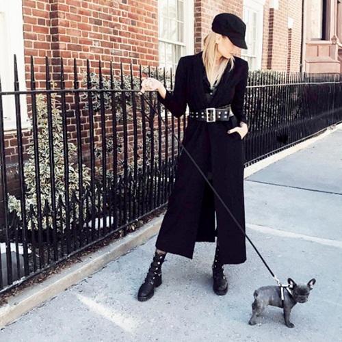Áo khoác đen dáng dài