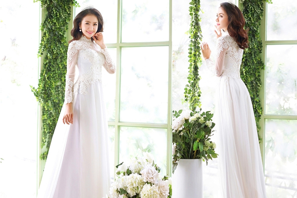áo dài cưới màu trắng